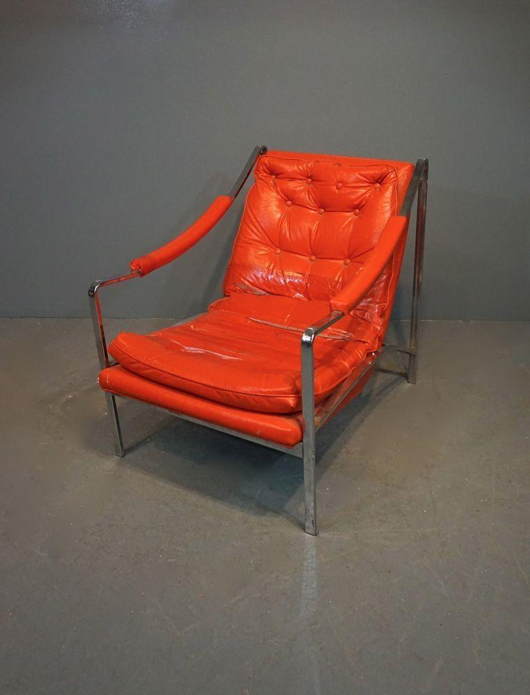 Vintage Mid Century Modern Red Vinyl Chrome Arm Chair H 29 Xw 25 Xd 31 5