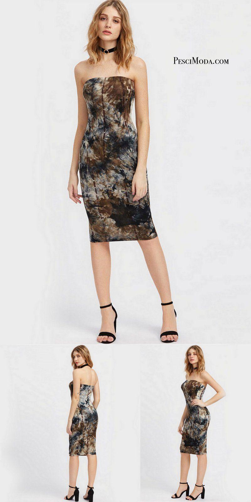 ac1631d53b5b3 Trending Black Printed Elegant Tube Dress With Free Shipping. Shop ...