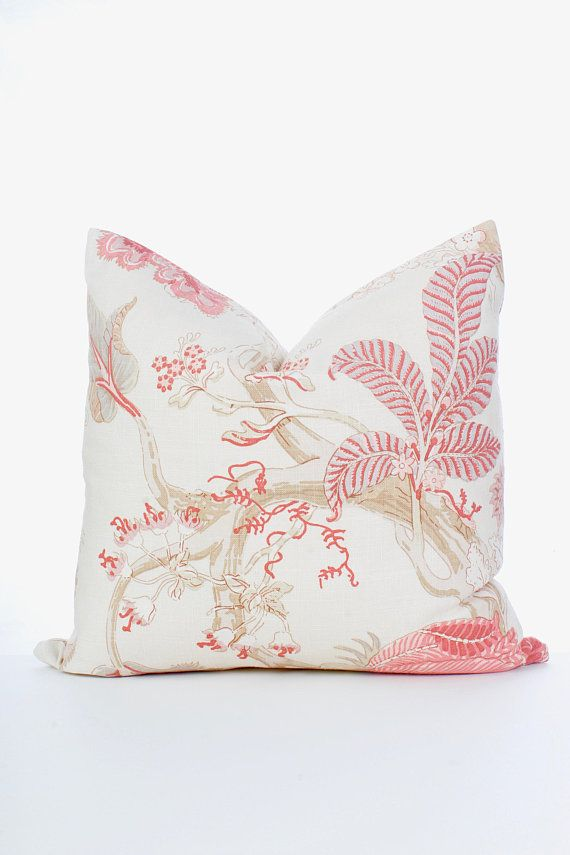 Kaufmann Pink Peach Tan Ivory Floral Trees Pillow Cover Decorative Enchanting Peach Decorative Throw Pillows