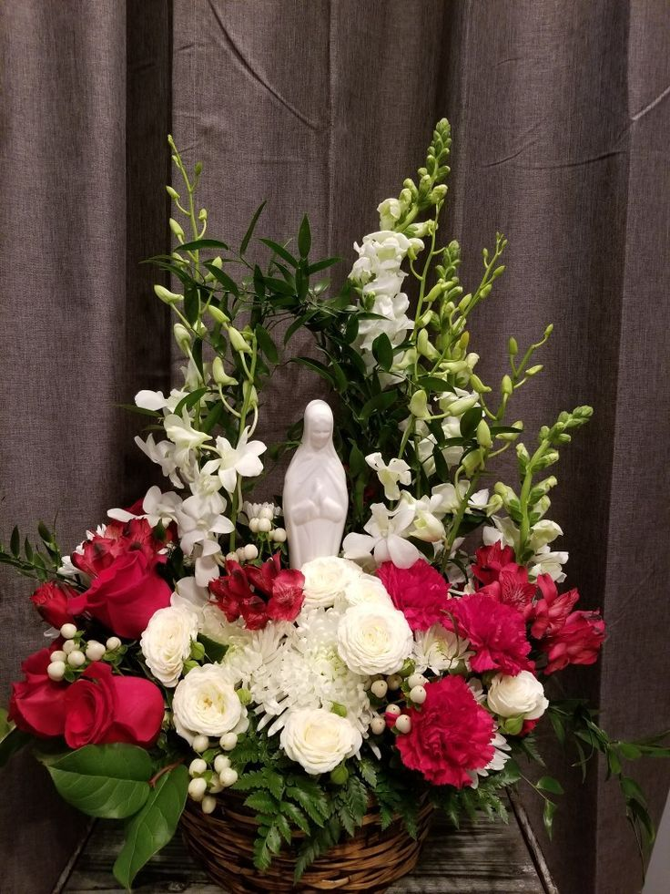 Blessed mary funeral basket traditional red and white
