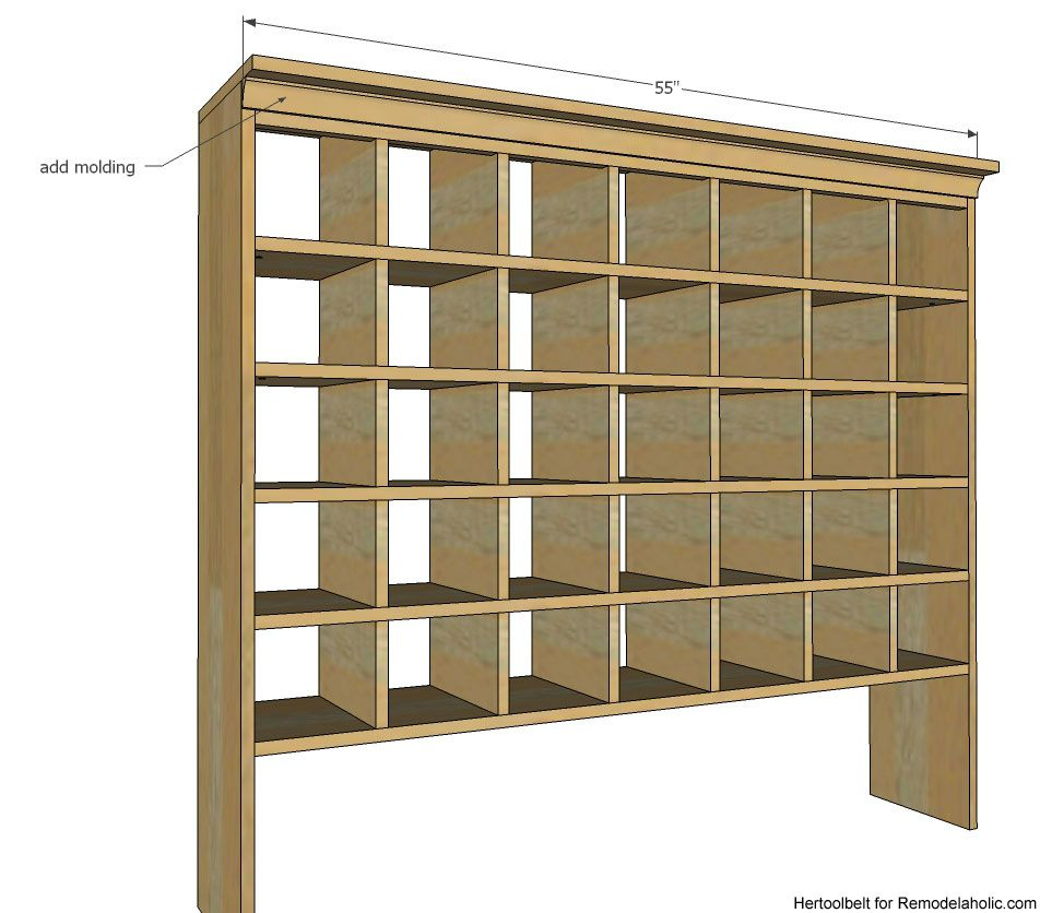 Inspired by a vintage mail sorter this diy shoe cubby is for Diy shoe storage with cardboard