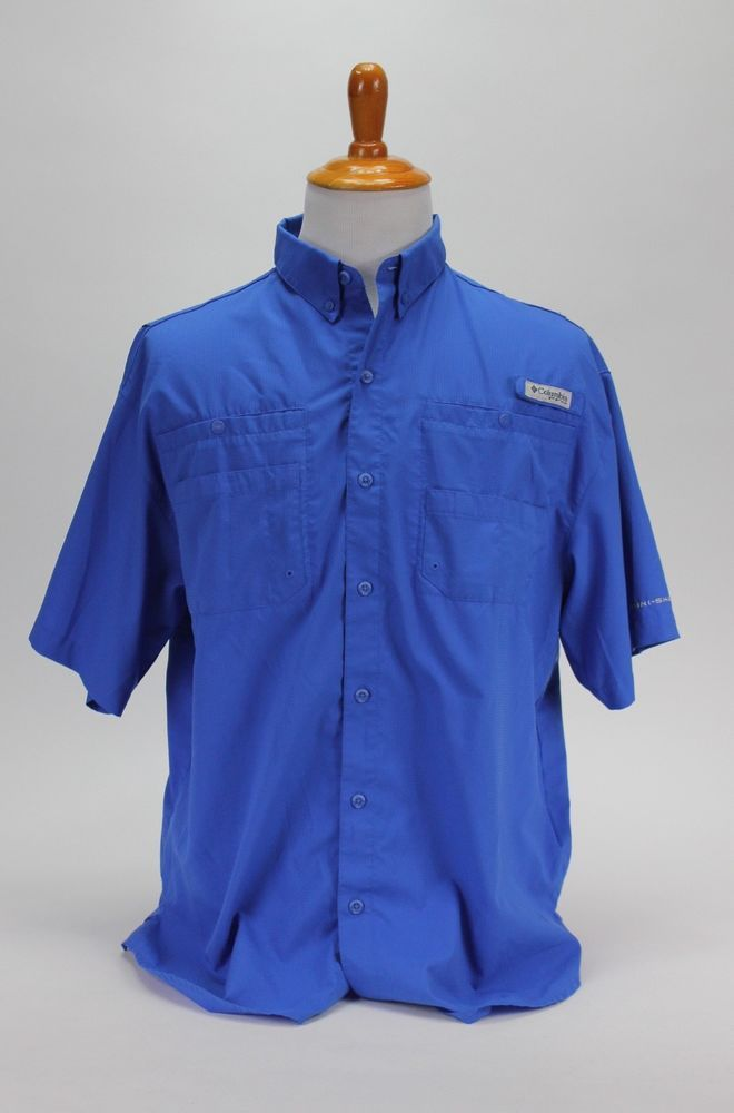 0cadf05072e Columbia PFG Fishing Vented Button Front Short Sleeve Shirt Blue Size L # Columbia #ButtonFront
