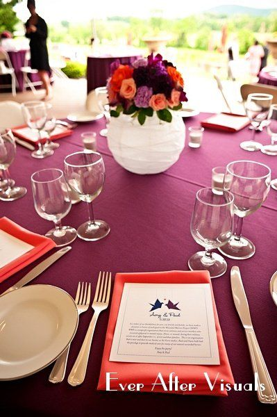 Another Cute Centerpiece Colored Linens And White Paper Lanterns