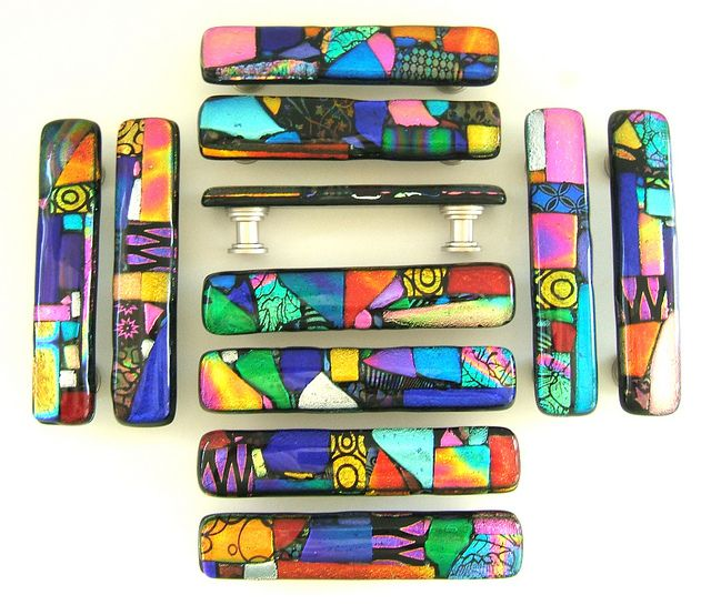 Colorful Mosaic Glass Cabinet Drawer Pulls Handles Hardware | Mappen ...