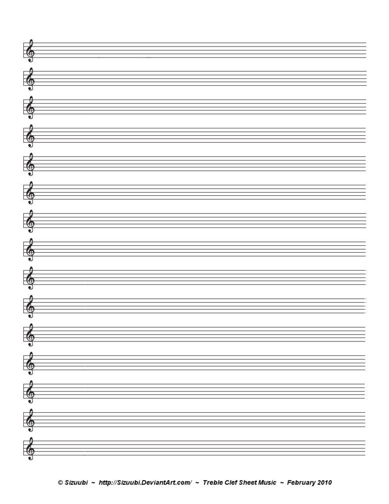 A Simple Blank Sheet Of Music For Musicians Hoping To Write In
