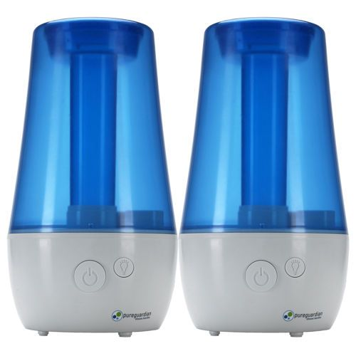 PureGuardian H965 70 Hour Ultrasonic Cool Mist Table Top Humidifier with Aroma Tray, 2 pack