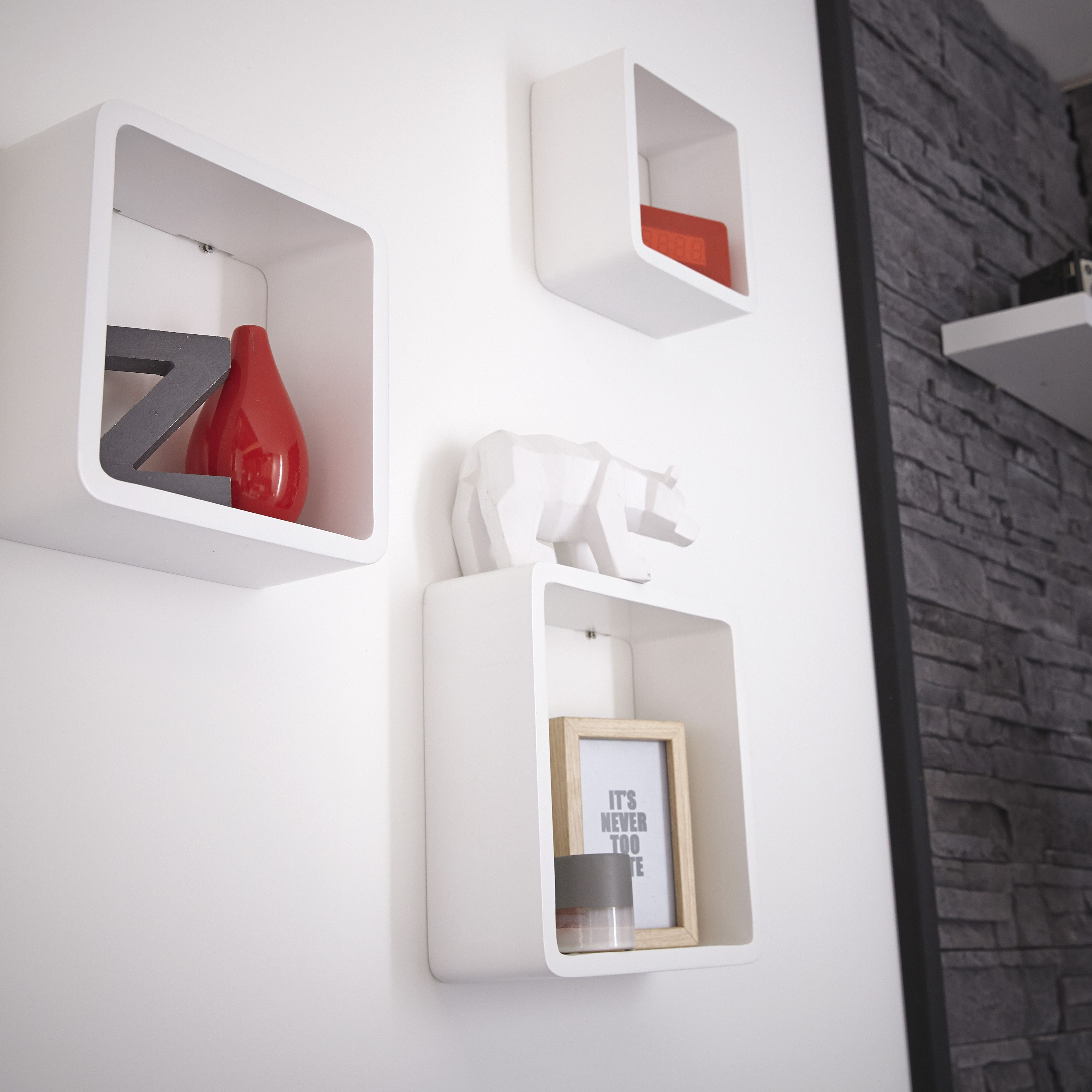 Etag Res Cube En Blanc Laqu D Co Murale Pinterest Etagere  # Etagere Murale Pin Laque