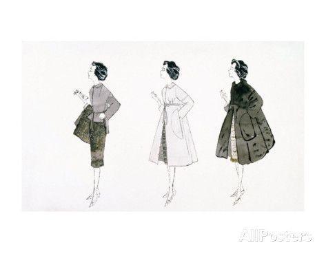 Three Female Fashion Figures, c.1959 Poster von Andy Warhol bei AllPosters.de