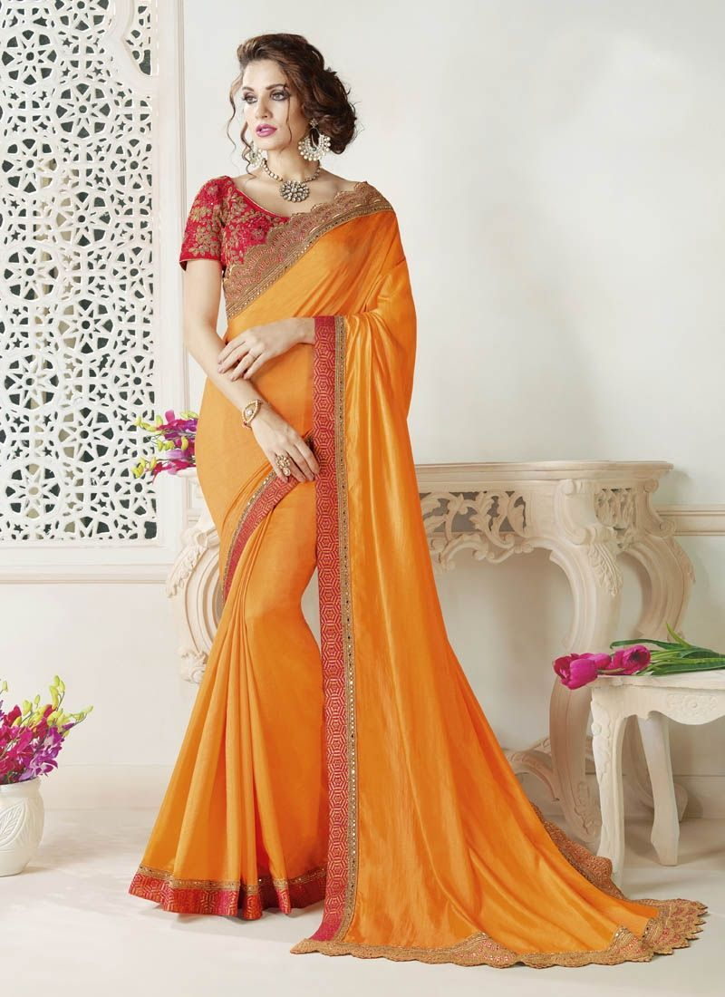 Mango Yellow Silk Saree With Brocade And Cutwork Embroidery
