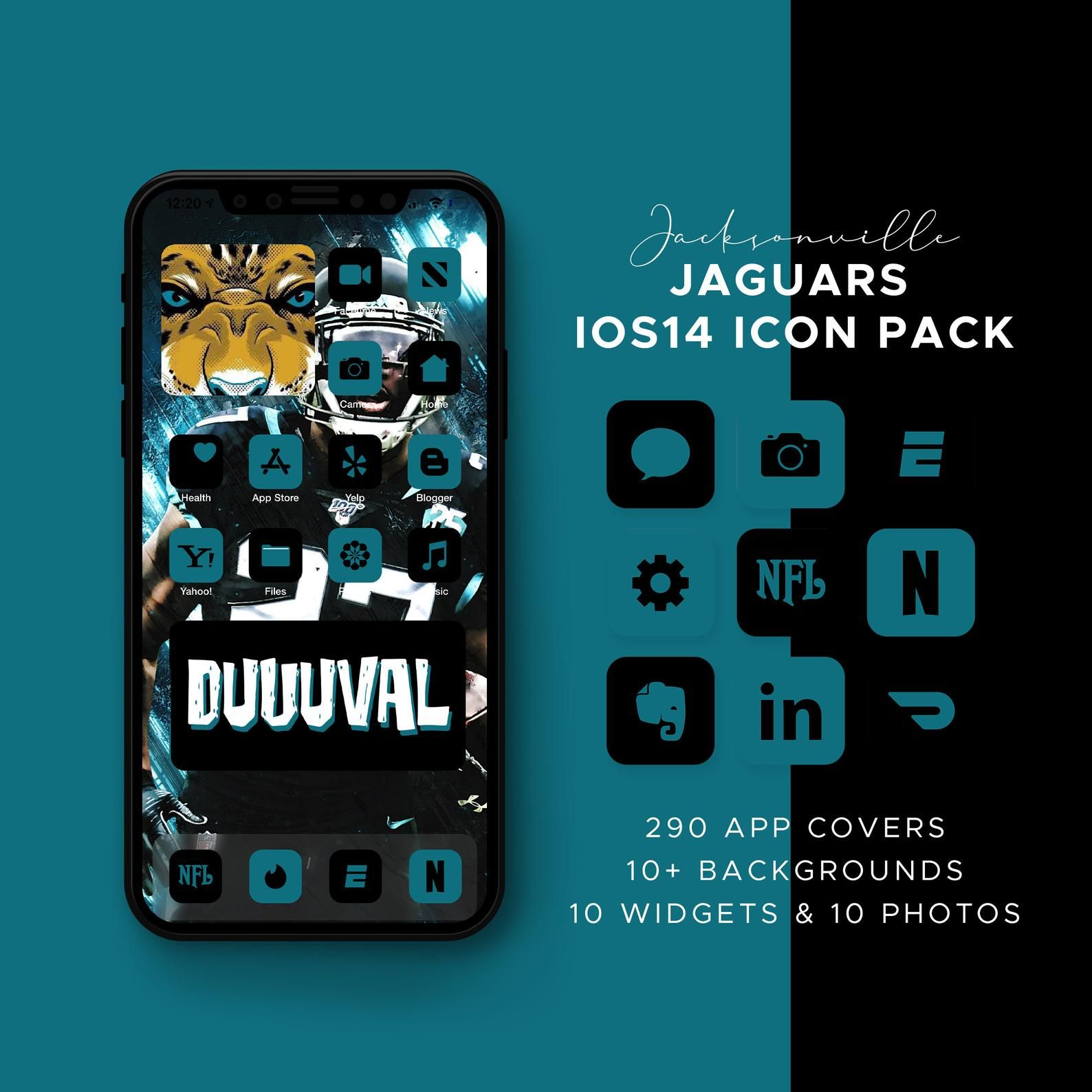 Jacksonville Jaguars Ios14 Icon Theme Pack Ios14 Icons Etsy In 2021 Themes App Ios14 Icon Theme Ios 14