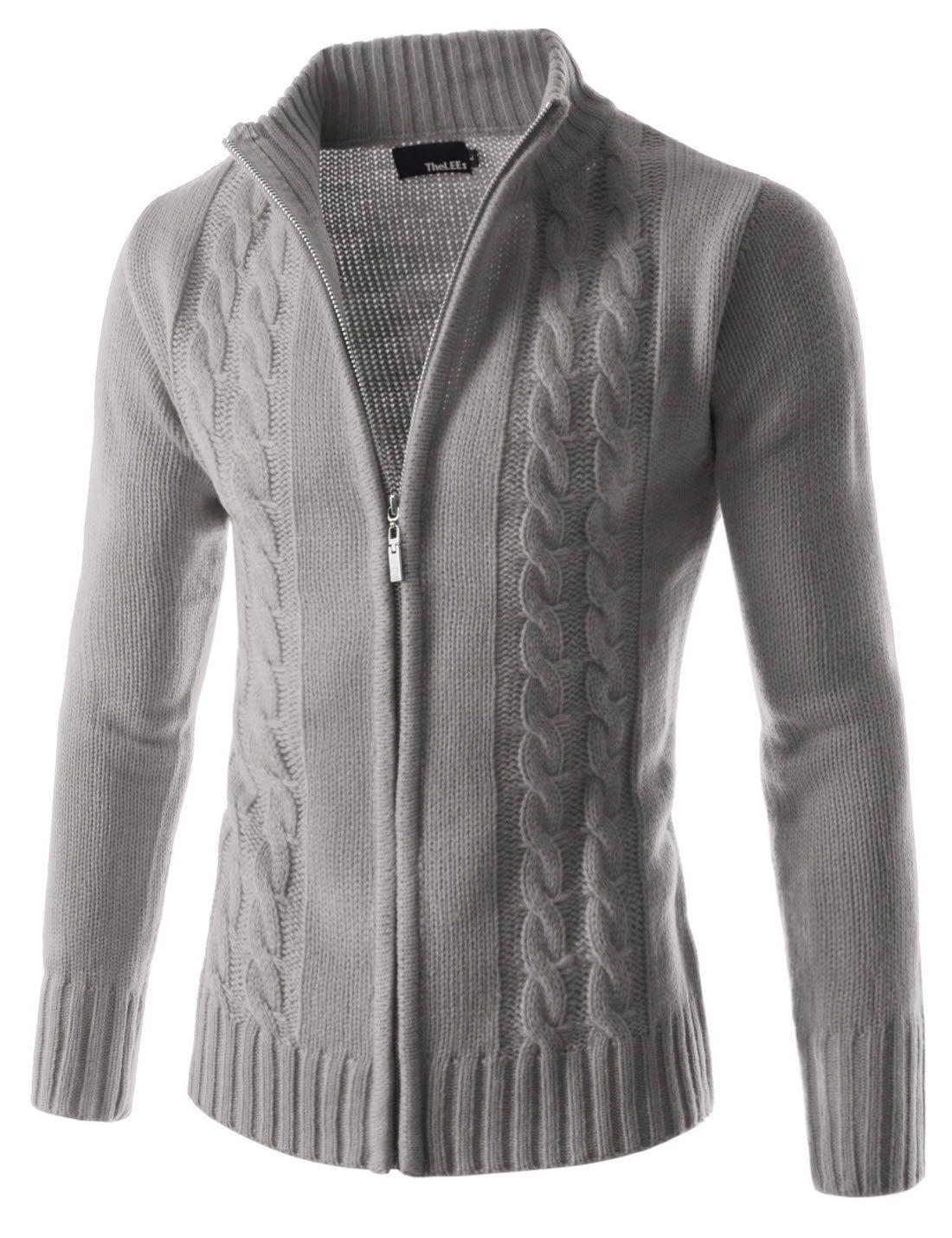 Twist Knitted Good Thermal Strickjacke Mit Reissverschluss Und Langen Armeln Erkek Gunluk Giyim Erkek Giyim Triko