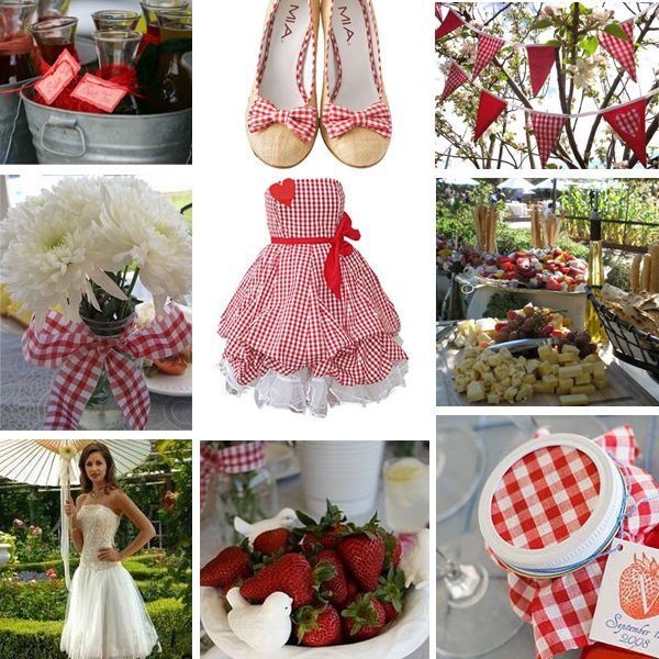 Red and white gingham.