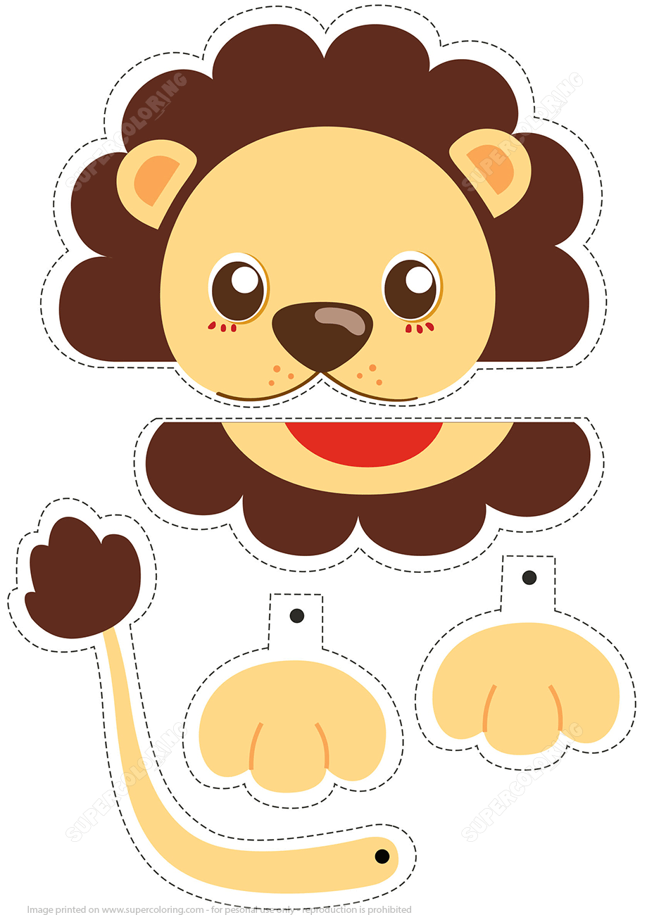 Lion Simple Paper Craft From Animals Category Hundreds Of Free Printable Papercraft Templates Origami Cut Out Dolls Stickers Collages Notes