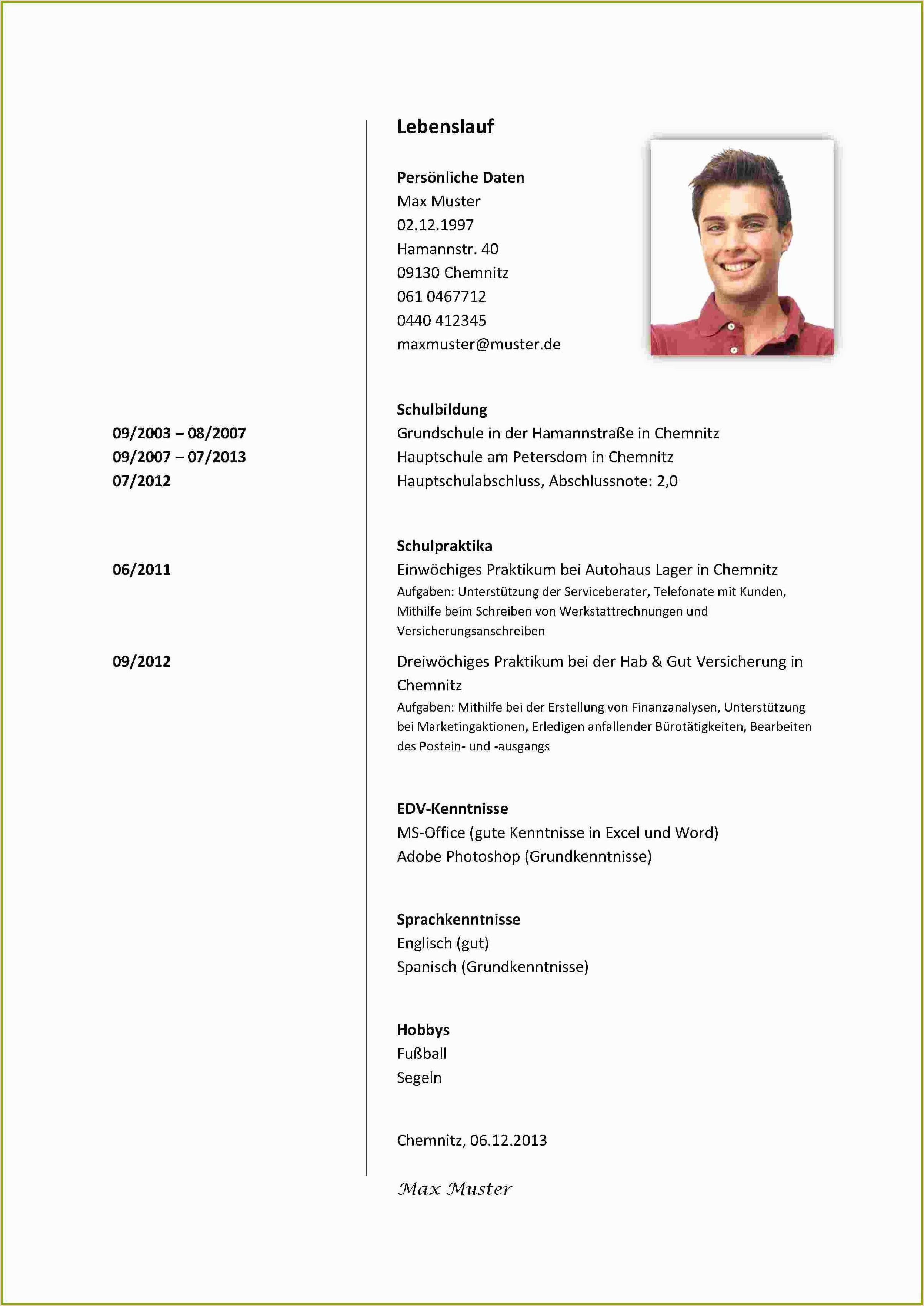 Lebenslauf Muster Fur Schulerpraktikum In 2020 Cv Examples Document Templates Resume Words