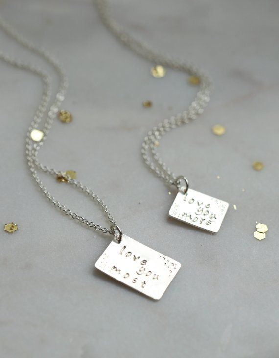 2baf293ab Mother Daughter Necklace Christmas Gift Love Note Jewelry for Mom Necklace  Baptism Gift Mom birthday