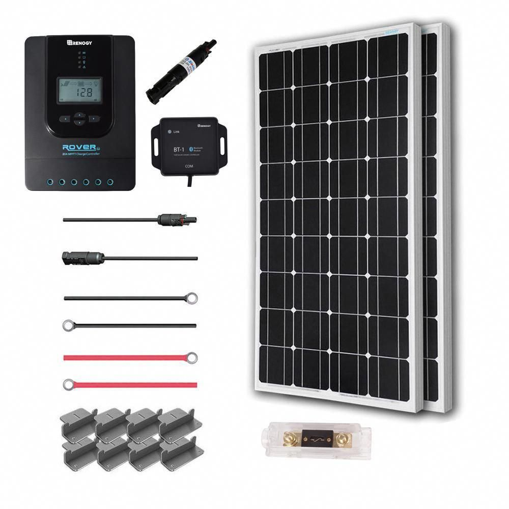 Renogy 200 Watt 12 Volt Off Grid Solar Premium Kit Premium200dr20 In 2020 With Images Monocrystalline Solar Panels Solar Power Panels Solar Panels