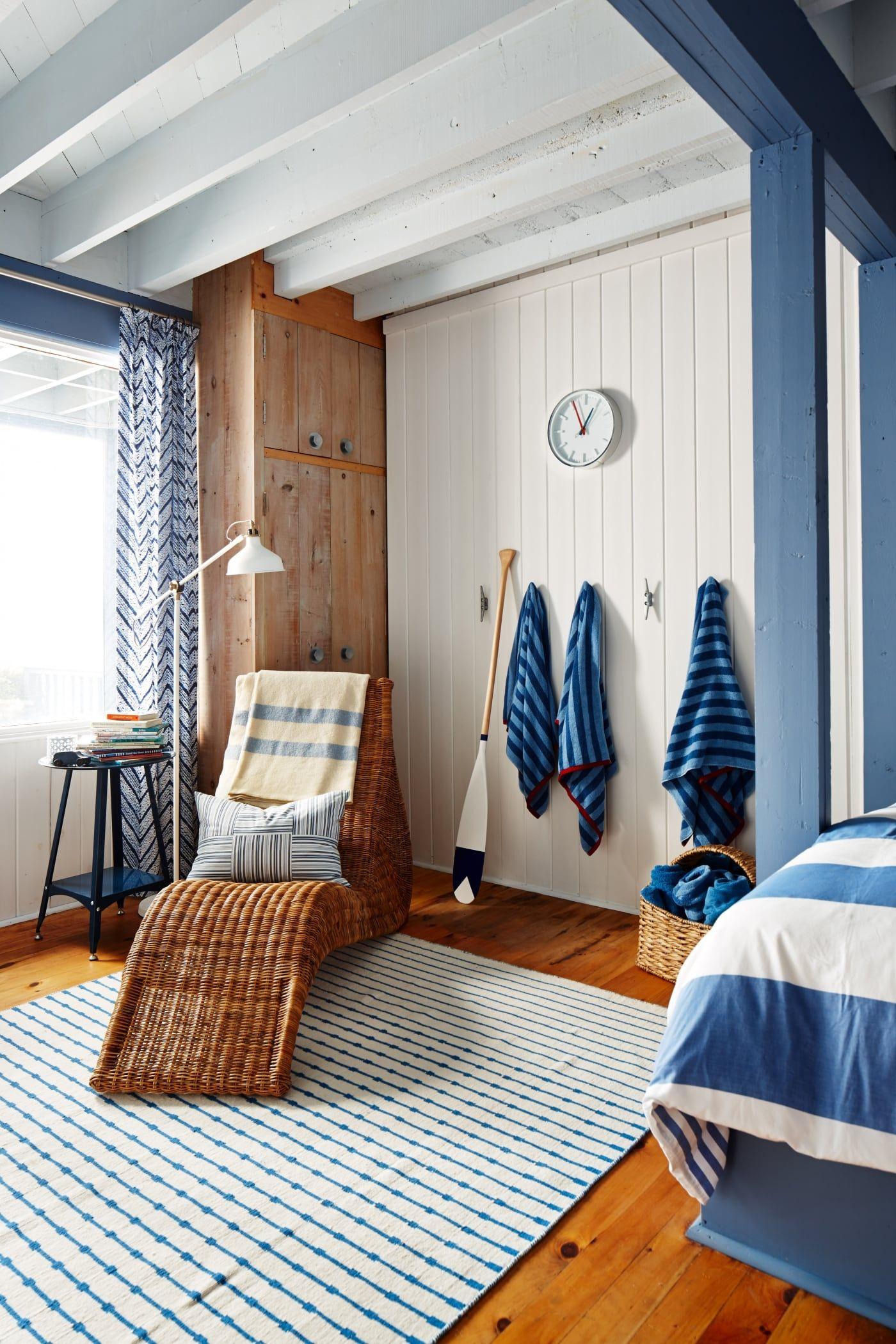 Sarahs Rental Cottage  Kids Room In Rich Blues, Pine,