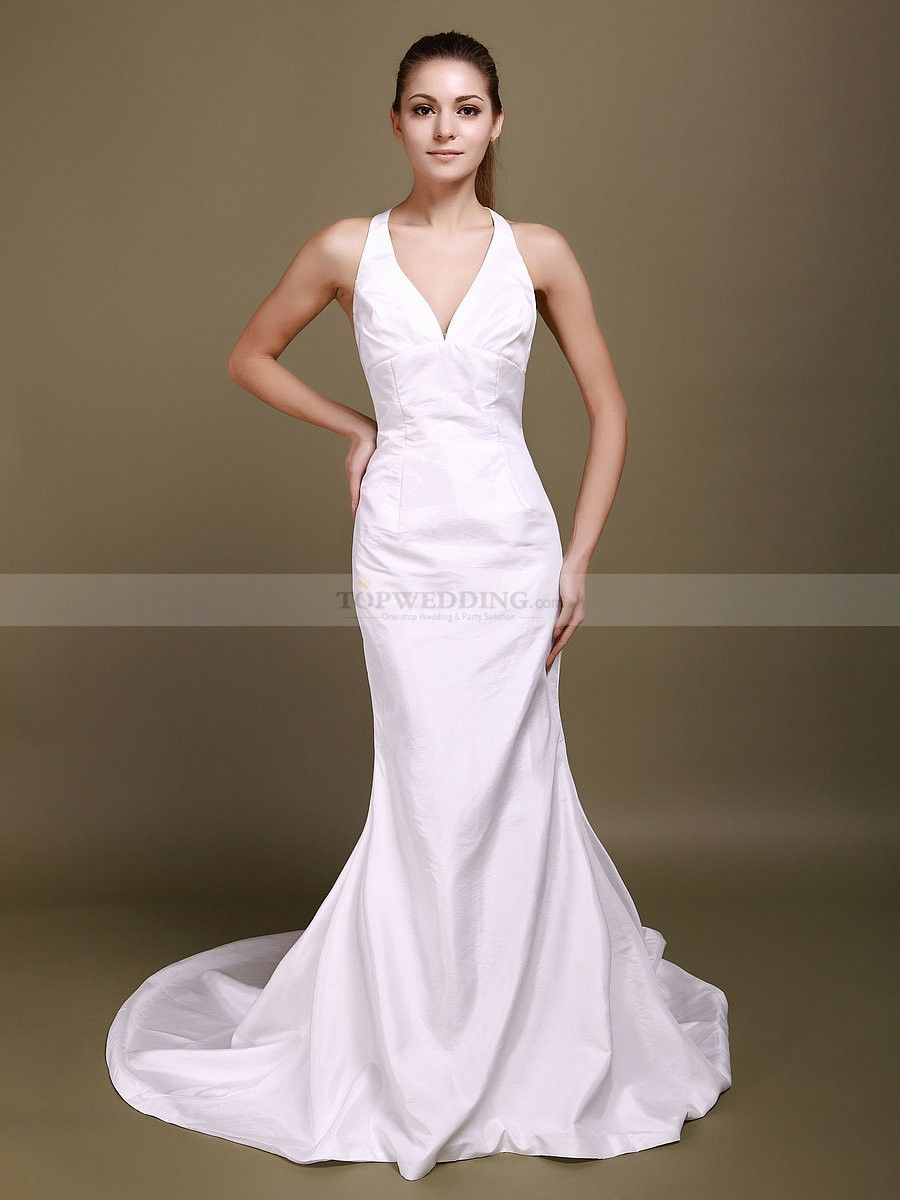 Halter v neck mermaid wedding dress with decorative back