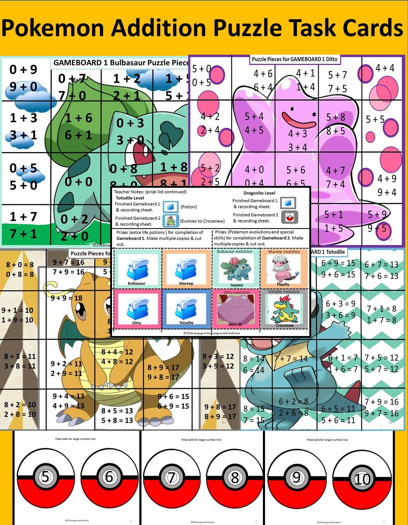 Pokemon Addition Hidden Picture Puzzles Task Cards And