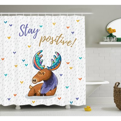 Zoomie Kids Estella Moose Quote Stay Positive Motivational Deer Boho Retro Colorful Antl Kids Shower Curtain Bathroom Decor Sets Shower Curtain Sizes