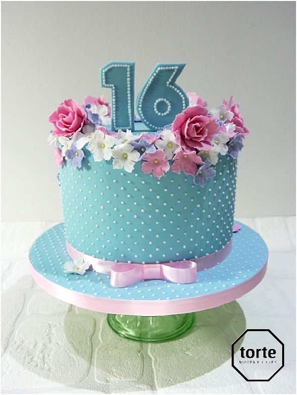 Dotty blue birthday cake birthday cake pipedpearls sugarflowers