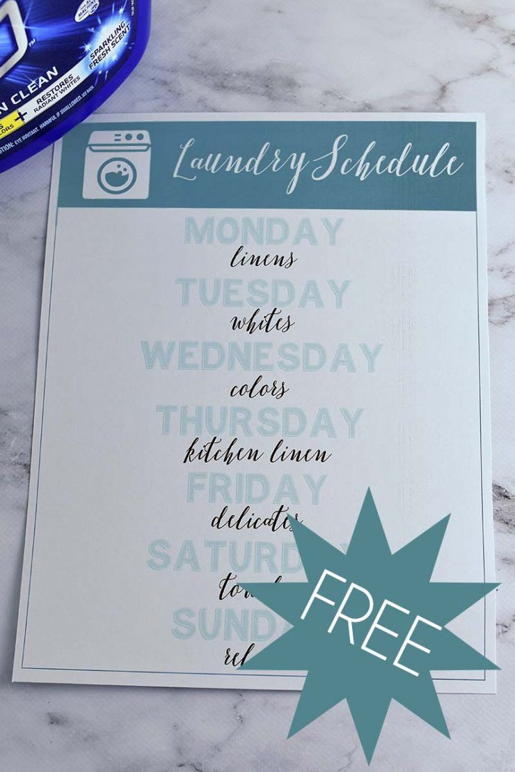 Free Laundry Schedule Printable #ad #OxiClean