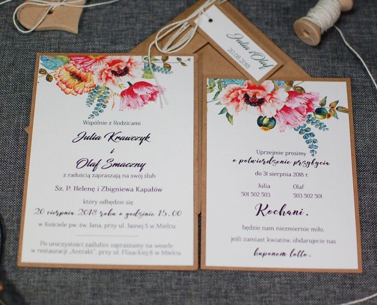 Zaproszenia Kolekcja 2017 Eko Motywem Kwiatowym Pracownia