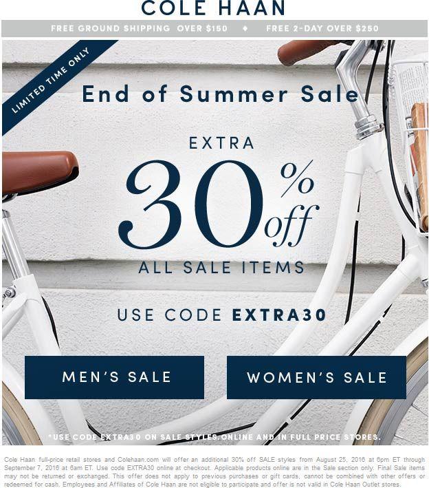 cole haan 30 off sale