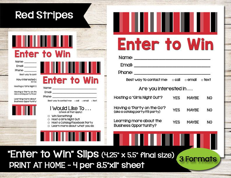 Enter To Win  Door Prize  Drawing Slip  Raffle Ticket