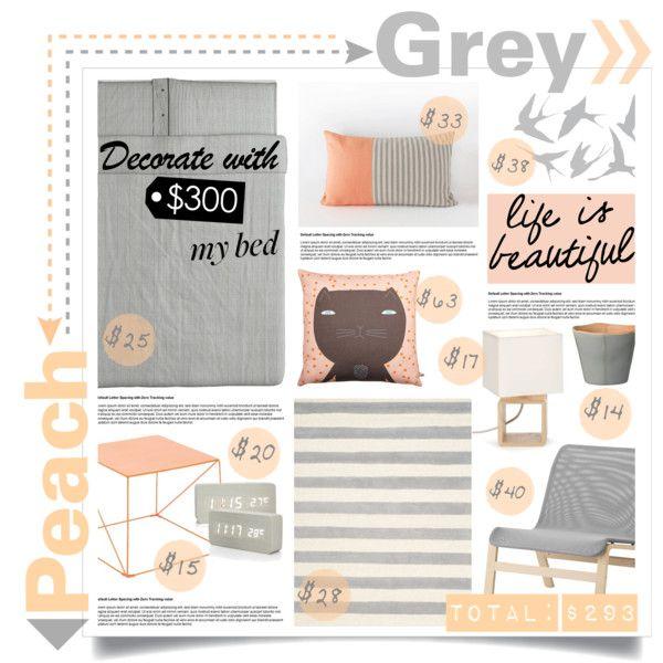 Exceptionnel Peach U0026 Grey Bedroom Decor Under $300   Polyvore