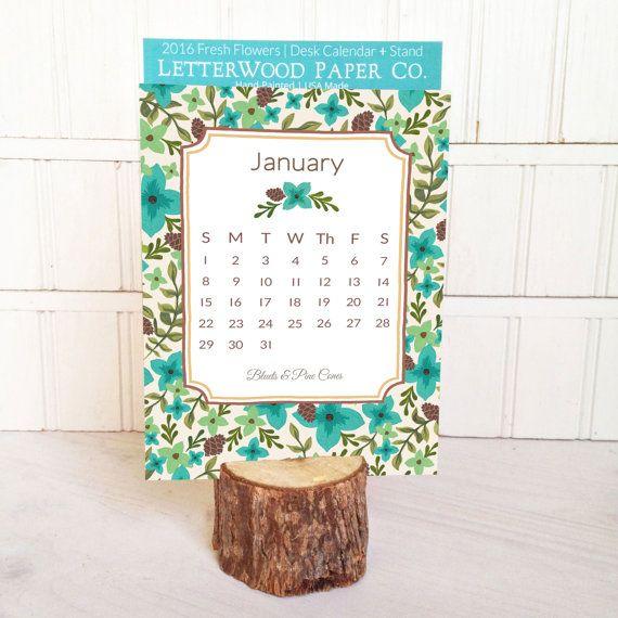 2017 Fresh Flowers Desk Calendar by LetterWood on Etsy Art that