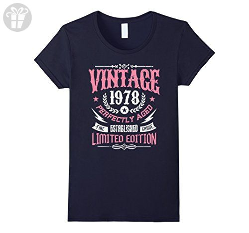 Womens 39th Birthday Gift T-Shirt Vintage 1978 - 39 Years Old Shirt XL Navy - Birthday shirts (*Amazon Partner-Link)