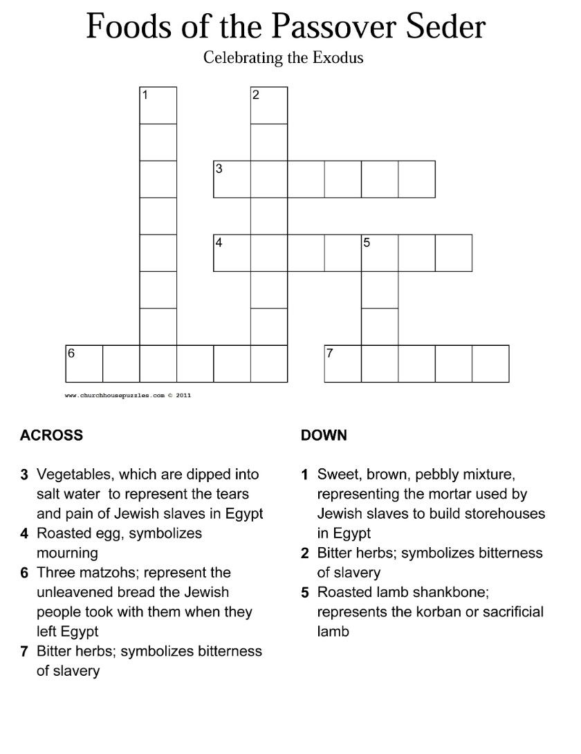 Passover Seder Crossword Puzzle Mystery Of History Volume 1 Lesson