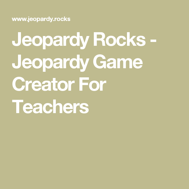 jeopardy game creator | Games World