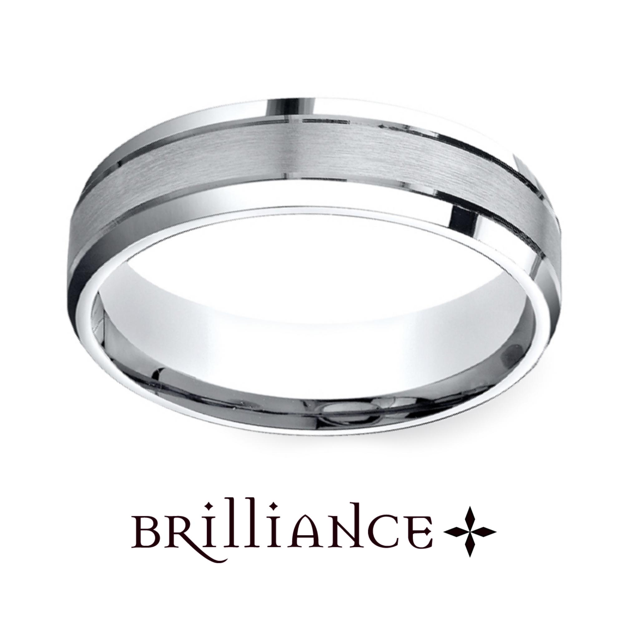 Satin Beveled Men S Wedding Ring In White Gold Http Www