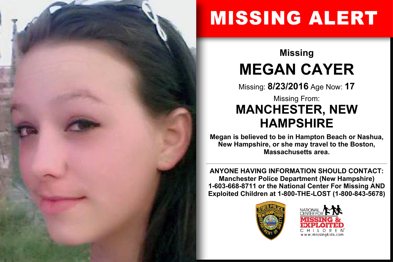MEGAN CAYER, Age Now: 17, Missing: 08/23/2016  Missing From