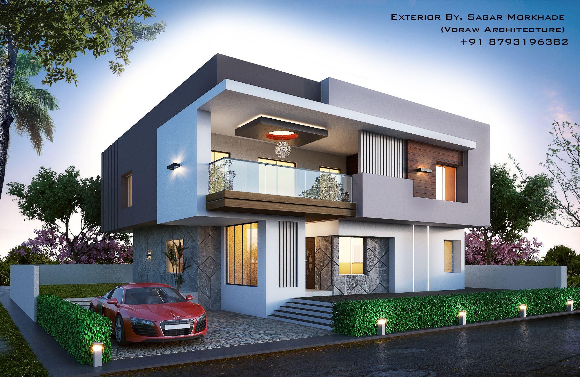 Modern Bungalow Exterior By Sagar Morkhade Vdraw