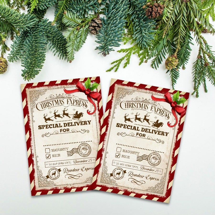 Details about Naughty or Nice Christmas Card Toppers, Xmas ...