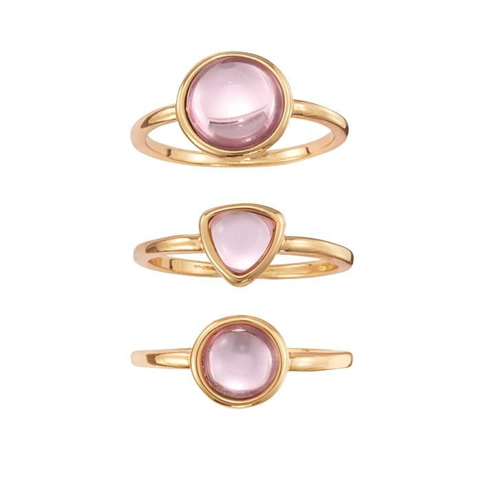 Stainless Steel Rose// Pink Gold Color Plated Purple// Violet Pearl Dome Ring