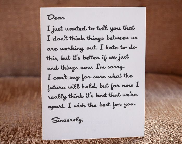 Love Break Letter Sample Quotes Black Heart Letterpress Generator