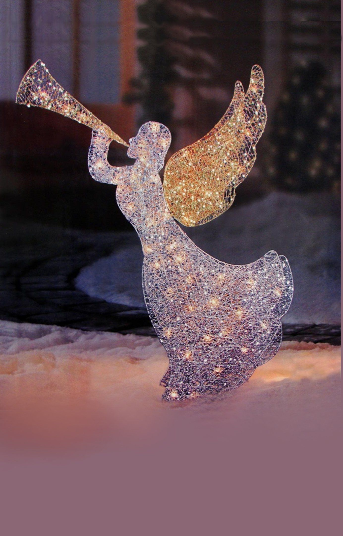 Lighted Glitter Sequin 3d Angel With Trumpet Christmas Outdoor