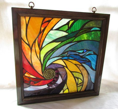 Stained Glass Mosaic Artwork Spiral I 18 X 18 Inches Wooden Frame By Glass Artist Seba