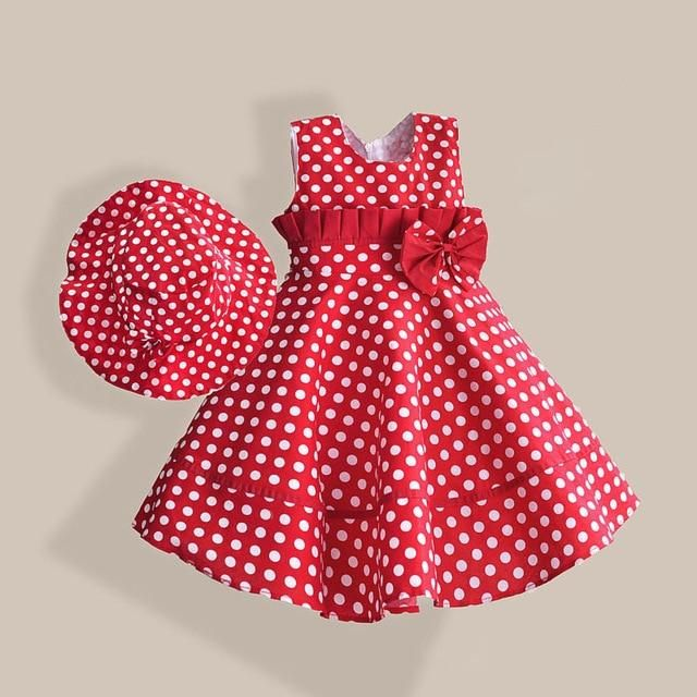 Summer Girl Dress with Hat Red Dot Fashion Bow Girls Dresses Casual A-line Kids Clothes robe fille enfant 3-8T #outfitswithhats