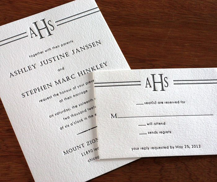 custom monogram wedding invitation perfect for a roaring 20 s
