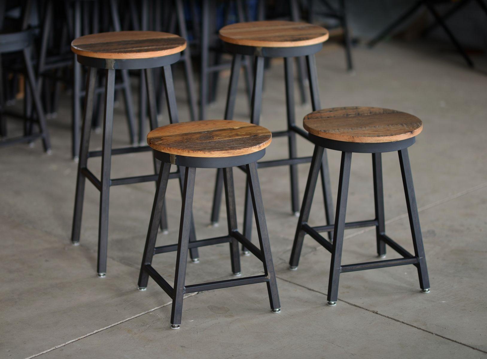 Custom Made Reclaimed Barnboard Custom Raw Steel Bar Stools