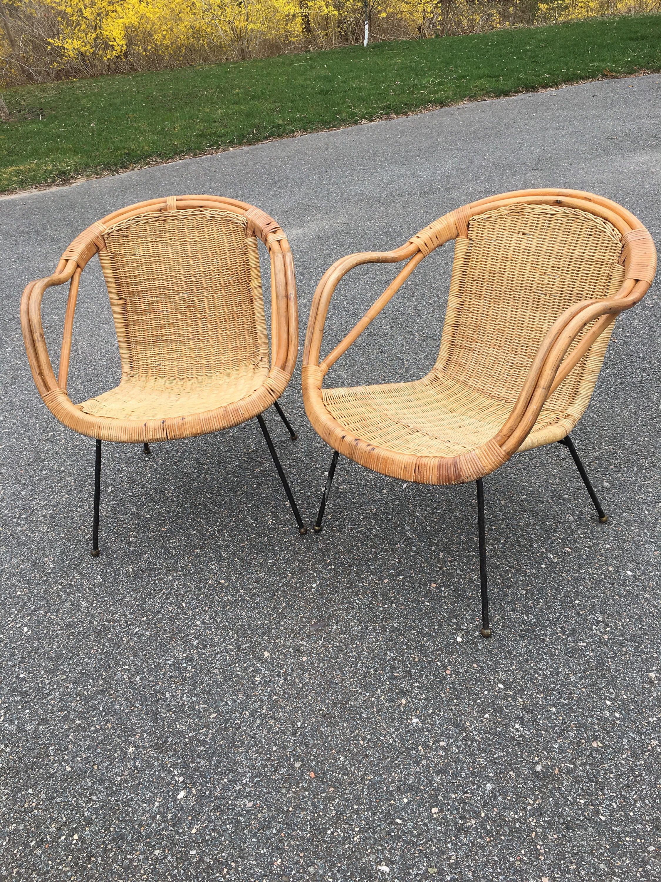 Miraculous Vintage Mid Century Calif Asia Wicker Basket Chair Two Pabps2019 Chair Design Images Pabps2019Com