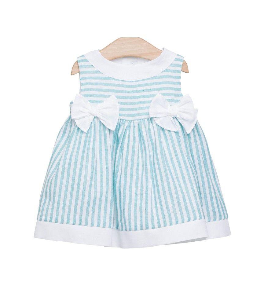 2ed91c5749f6 Vestido de rayas turquesas de Fina Ejerique en Vestidos para Bebé. Los  vestidos para tu bebé más bonitos en esta tienda online