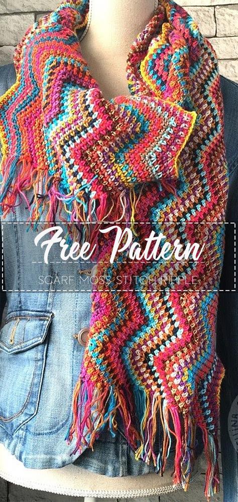 Scarf Moss Stitch Ripple – Free Pattern – Free Crochet #crochetscarves