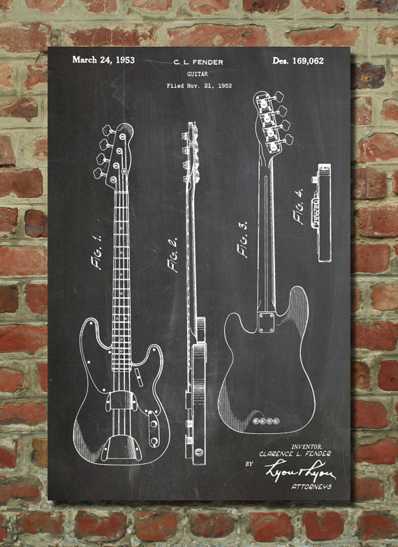Fender precision bass guitar patent poster bass blueprint fender fender precision bass guitar patent poster bass blueprint fender guitar bass guitar patent pp0008 malvernweather Choice Image