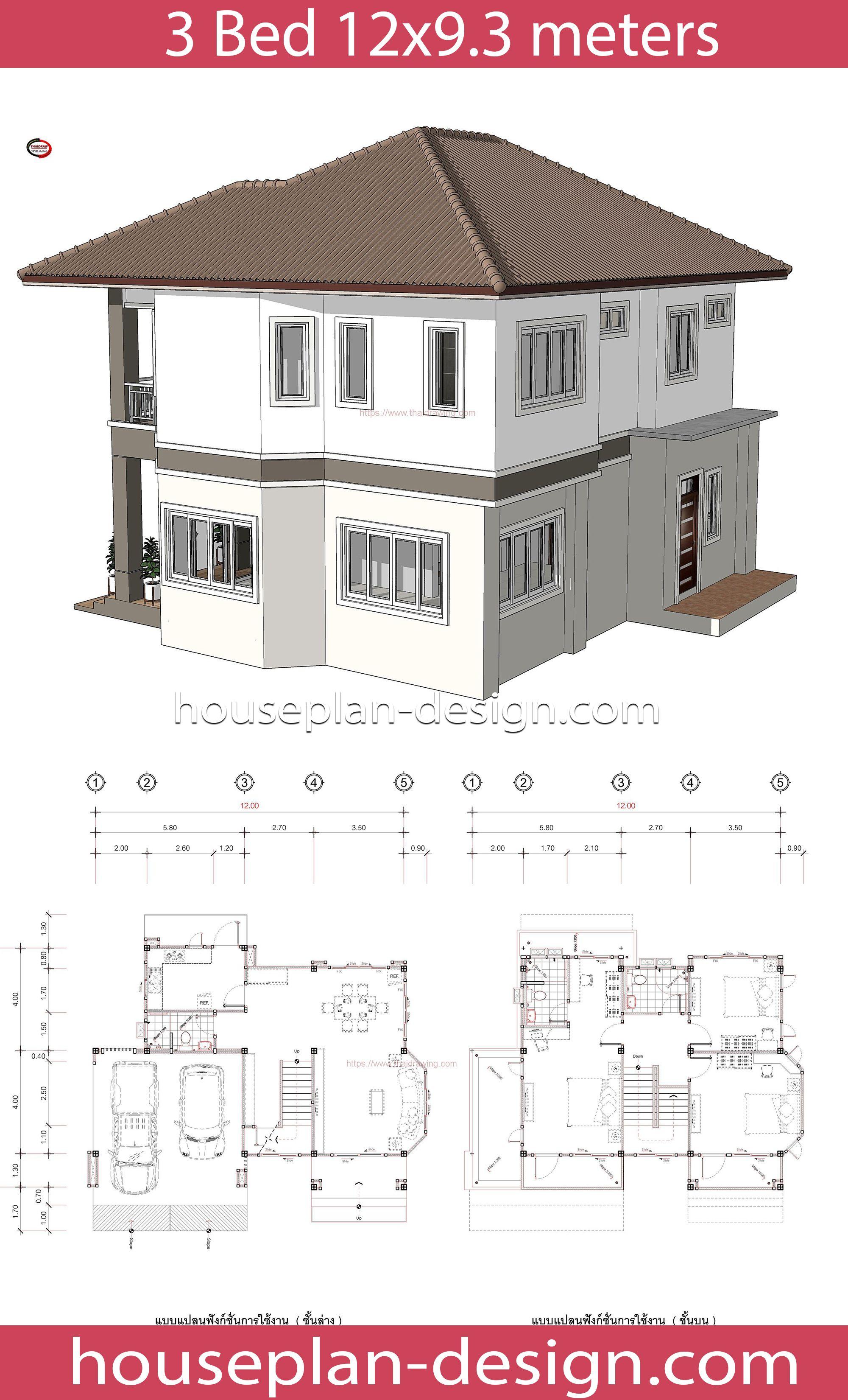 House Plan Design House Design Idea 12x9 3 With 3 Bedrooms Projetos De Casas Arquitetonico Casas